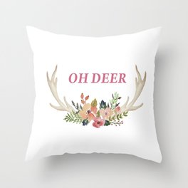 Fun colourful antlers of deer and flowers Throw Pillow