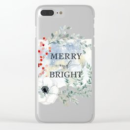 Merry and bright. Christmas wreath Clear iPhone Case