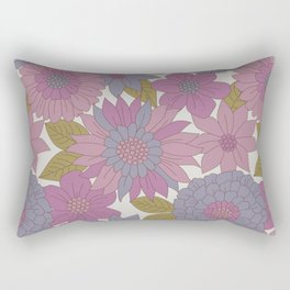 Pink & Purple Retro Floral Pattern Rectangular Pillow
