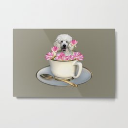 Coffee Cup with Poodle and Lotus Flowers Metal Print