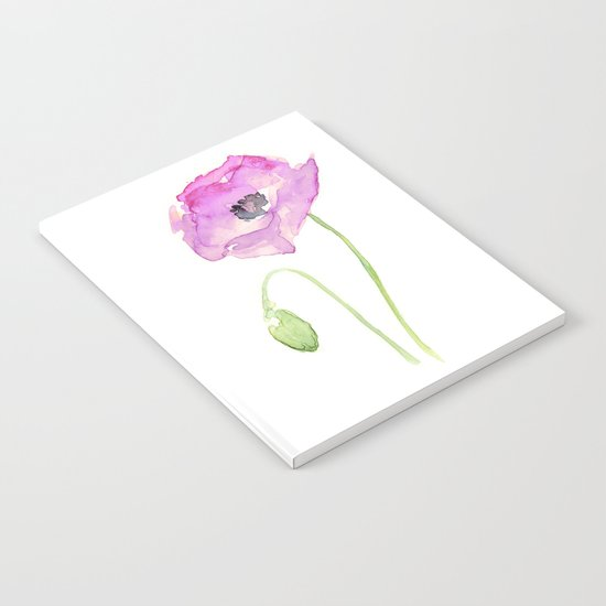 Flower Purple Poppy Floral Watercolor Notebook