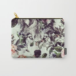 Floral Wolf Carry-All Pouch