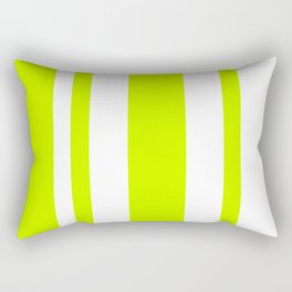 Mixed Vertical Stripes - White and Fluorescent Yellow Rectangular Pillow