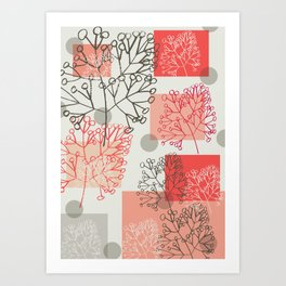 Branches grey graphic retro Art Print