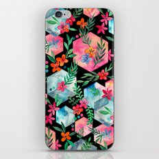 Whimsical Hexagon Garden on black iPhone Skin