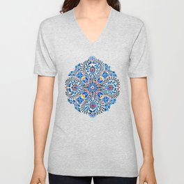 Blue-red mandala Unisex V-Neck