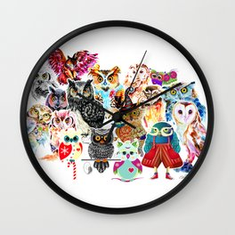 OWLS COLLAGE Wall Clock