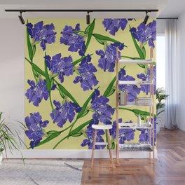 Watercolour Iris on Yellow Wall Mural