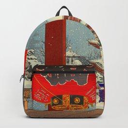 Tsuchiya Koitsu A Winter Day at The Temple Asakusa Vintage Japanese Woodblock Print Backpack