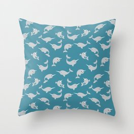 Narwhals Under the Sea Throw Pillow