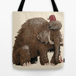 Sad mammoth with fez Tote Bag