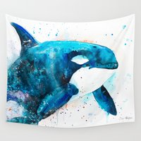 orca Wall Tapestries featuring Orca  by Slaveika Aladjova