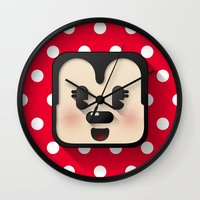 minnie mouse Wall Clocks featuring minnie mouse cutie by designoMatt
