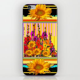 Victorian Style Hollyhock Sunflowers Butterflies Black Art iPhone Skin