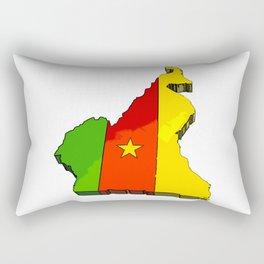 Cameroon Map with Cameroonian Flag Rectangular Pillow