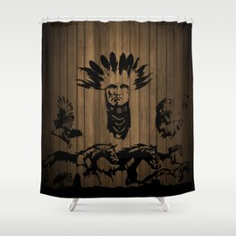 """HEHEWUTI: Native American Hopi name meaning """"warrior mother spirit."""" Shower Curtain"""