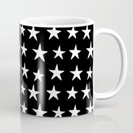 Star Pattern White On Black Coffee Mug