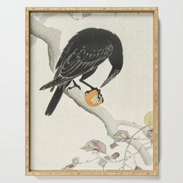 Koson Ohara - Crow with Kaki Fruit - Japanese Vintage Ukiyo-e Woodblock Painting Serving Tray