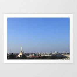 Clear sky cityscape. Admiralty building and winter palace. Art Print
