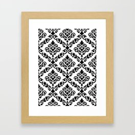 Prima Damask Pattern Black on White Framed Art Print