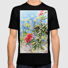 Beautiful Red Bottle Brush MEDIUM Black Mens Fitted Tee