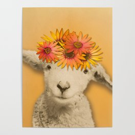Daisies Sheep Girl Portrait, Mustard Yellow Texturized Background Poster