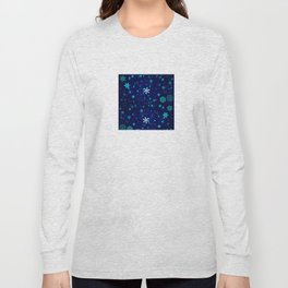 Blue Snowflakes Pattern Long Sleeve T-shirt
