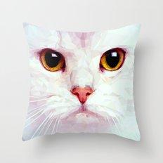 Geometric White Cat Throw Pillow