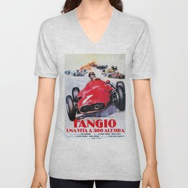Fangio, Race poster, Vintage poster, F1 poster Unisex V-Neck