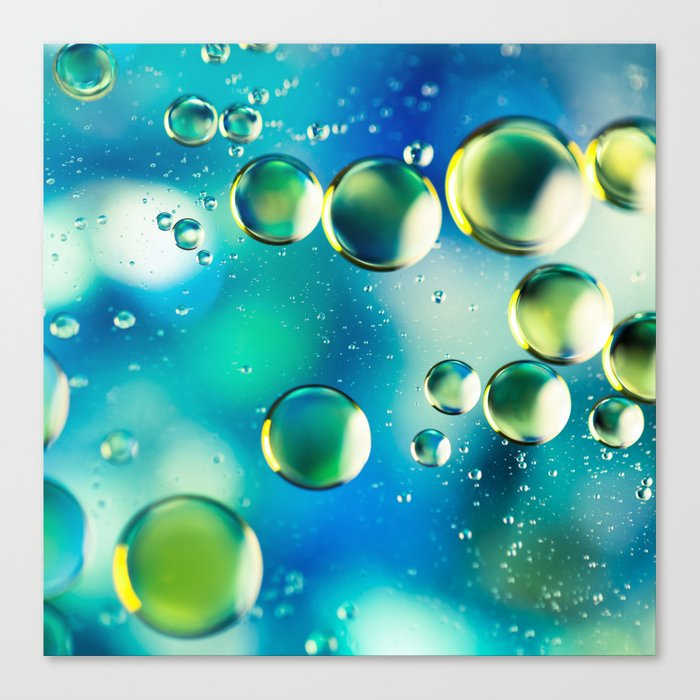 Macro Water Droplets  Aquamarine Soft Green Citron Lemon Yellow and Blue jewel tones Canvas Print