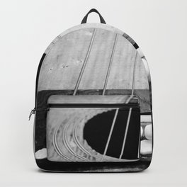 Wooden Acoustic Guitar in Black and White Backpack