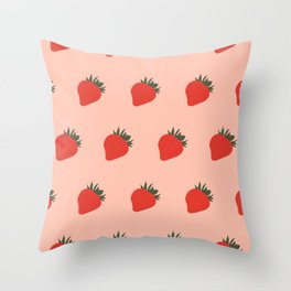 Strawberries all over the place Throw Pillow