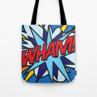 comic book Tote Bags featuring Comic Book WHAM! by Thisisnotme