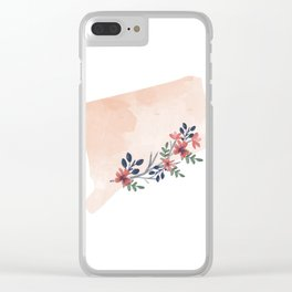 Connecticut Watercolor Floral State Clear iPhone Case