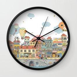 79 Cats in Harbor City Wall Clock