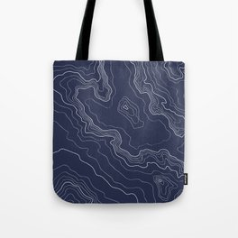 Navy topography map Tote Bag