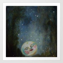 Always Kiss the Moon Goodnight  Art Print