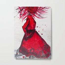 Red Women's Fashion Illustration Metal Print