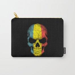 Dark Skull with Flag of Romania Carry-All Pouch