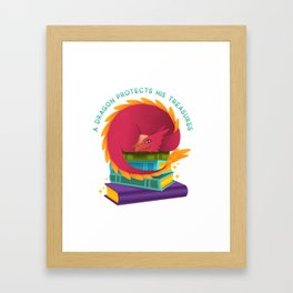A Dragon Protects His Treasures (books) Framed Art Print