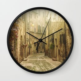 Vintage street in an old Medieval hilltop town in Italy Wall Clock