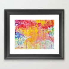 SUN SHOWERS - Beautiful Pastel Coloful Rain Clouds Bright Sky Abstract Acrylic Painting Framed Art Print