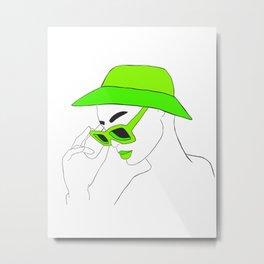 Lime Green Fashion Portrait Illustration Metal Print