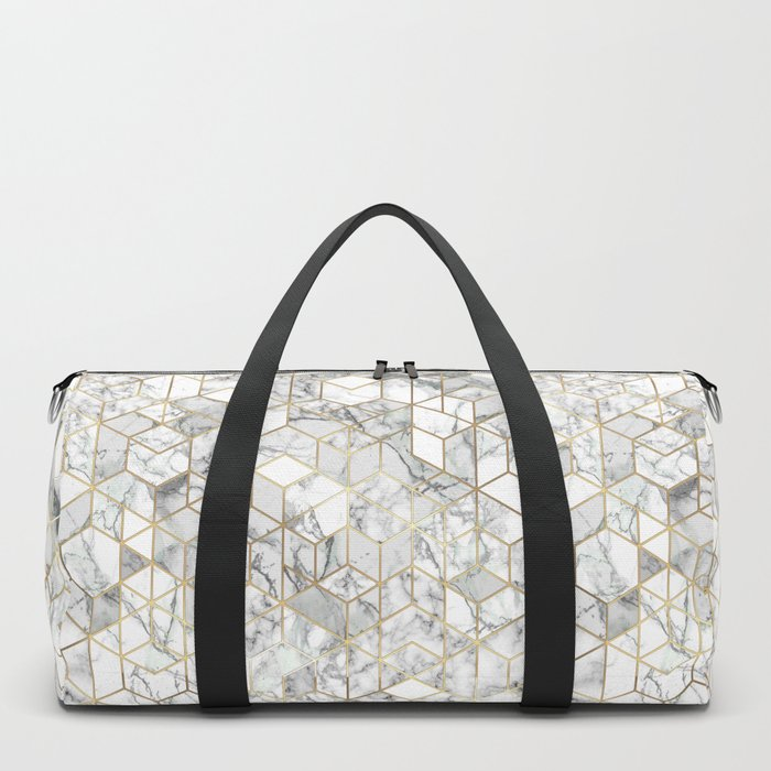 White marble geomeric pattern in gold frame Duffle Bag