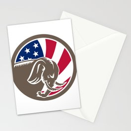 Republican Elephant Mascot USA Flag Stationery Cards
