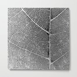 Black And White Leaf Close-Up 'Finger Print' Pattern Metal Print