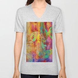 Colorful Butterfles Q Unisex V-Neck