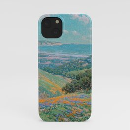 Malibu Coast, California with wild poppies floral seascape painting by Granville Redmond iPhone Case