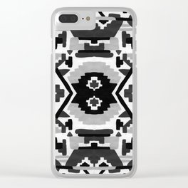 Geometric Aztec - black and white Clear iPhone Case