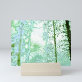 Magical forest in frosty greens Mini Art Print